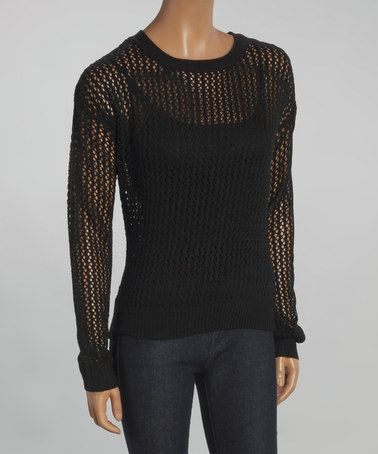 Another great find on #zulily! Black Open-Knit Crewneck Sweater by Yoki #zulilyfinds