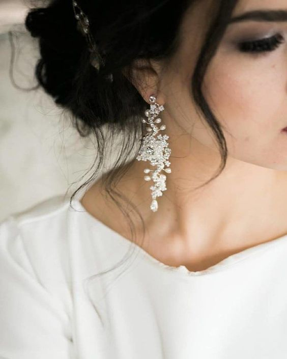 Delphinium Earrings (White with Ivory Accents) — Edera | Couture Lace Bridal Jewelry & Accessories