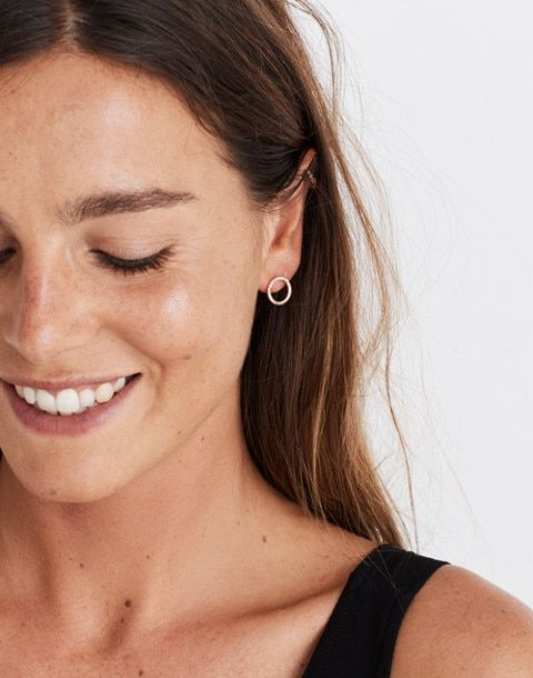 Made in UK Gift for Her Modern Minimalist Contemporary Jewellery Oxidised Tiny Stud Earrings Minimal Semi-Circle Studs Black earring