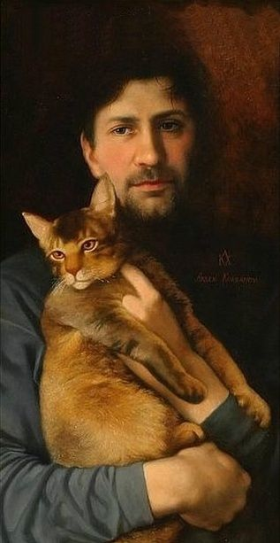 Man with a Cat by Arsen Kurbanov (b.1969):