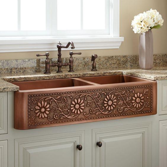 42 Sunflower 60 40 Offset Double Well Farmhouse Copper Sink Antique Copper Kitchen Sinks