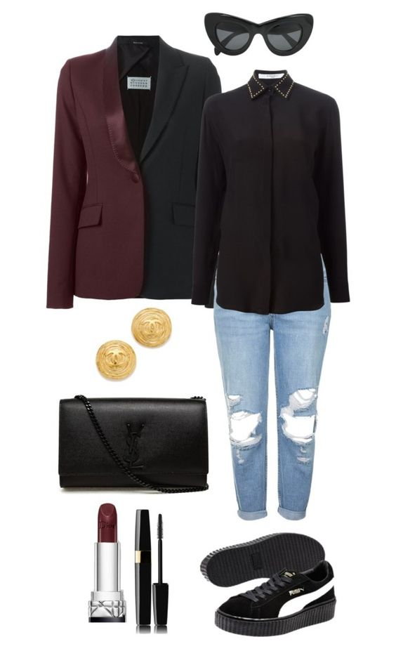 """""""THE CREEPER by Rihanna"""" by monsteryay ❤ liked on Polyvore featuring Maison Margiela, Topshop, Givenchy, Puma, Yves Saint Laurent and CÉLINE"""