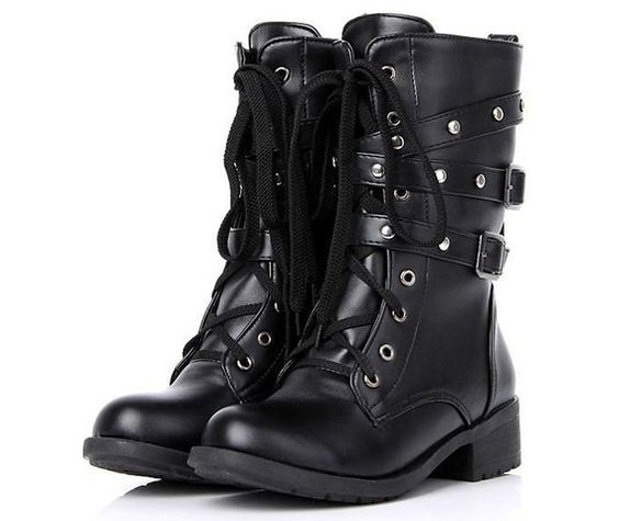 New Round Toe Low Heel Buckle Rivets Lace Boots