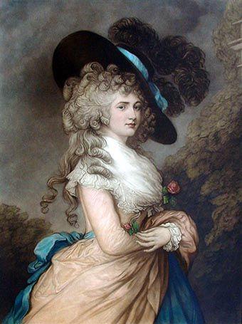 18th Century Ladies Clothing   Mezzotint print of Gainsborough's portrait of the Duchess of ...