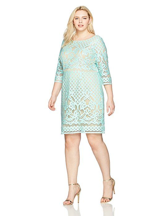 Amazon Com Gabby Skye Women S Plus Size Long Sleeved Crochet Lace Fit And Spring Wedding Guest Dress Plus Size Wedding Guest Dresses Casual Bridesmaid Dresses