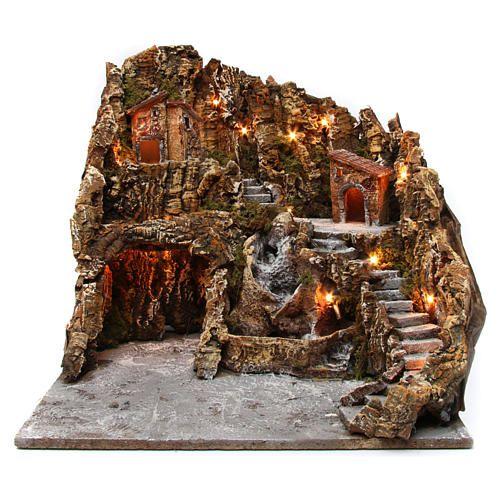 Borgo presepe illuminato con grotta Natività ruscello casette
