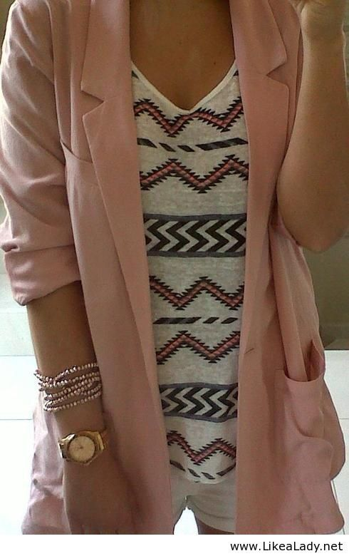 Tribal print and light pink cardigan