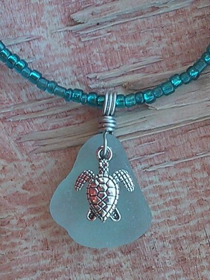 "Sea Turtle Sea Glass Jewelry Necklace Artisan 20""/22"" Beaded Hand Crafted Beach #Handmade #Pendant"