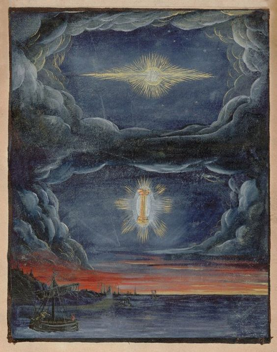 "This beautiful print is taken from an extremely rare book of watercolors known as the 'Kometenbuch', or "" Comet Book"", that was produced in Flanders or NE France in 1587. Only two editions are known to exist and the author and illustrator are unknown.The paintings depict the appearances and mythologies of comets throughout history up until the Middle Ages, detailing comet events that were said to trigger wars and fires and other societal shifts.The prints reproduce the originals in amazing accur"