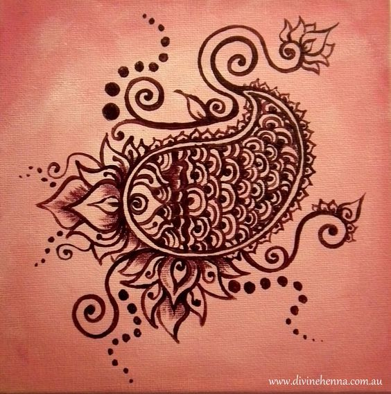 Mehndi Patterns Lotus : Water baby cute henna design inspired painting with pink