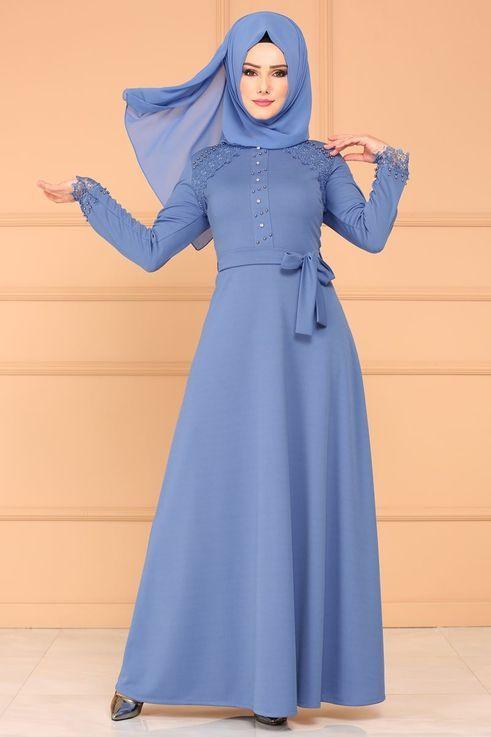 Modaselvim Elbise Dantel Detay Tesettur Elbise Pl828 Mavi Latest African Fashion Dresses Fashion Abaya Fashion