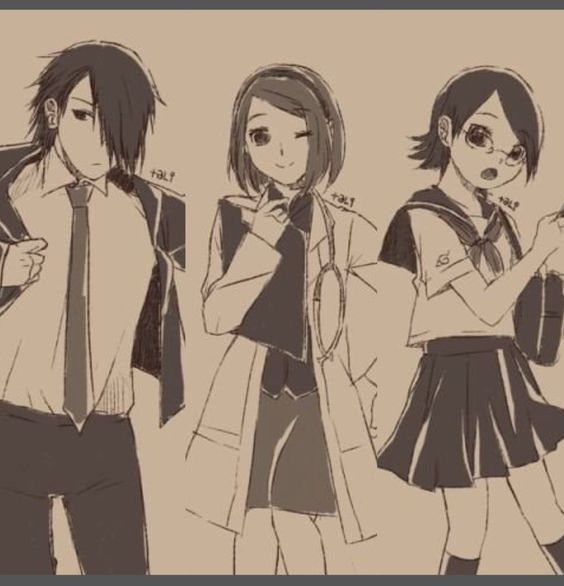 Uchiha SasuKe, Uchiha Sakura and Uchiha Sarada.