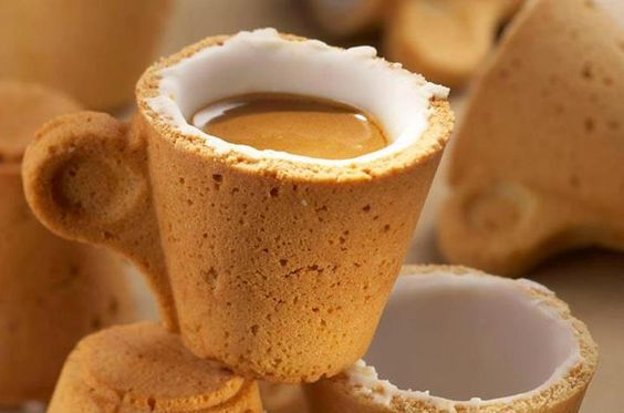 Cookie Cup  First you drink the coffee, then you eat the cup! The Cookie Cup is designed by Venezuelan designer Enrique Luis Sardi together with Italian coffee company Lavazza.  The cup is made of pastry covered with a special icing sugar, which works as an insulator, and makes the cup waterproof hence allowing you to use the cup and then appreciate its taste.