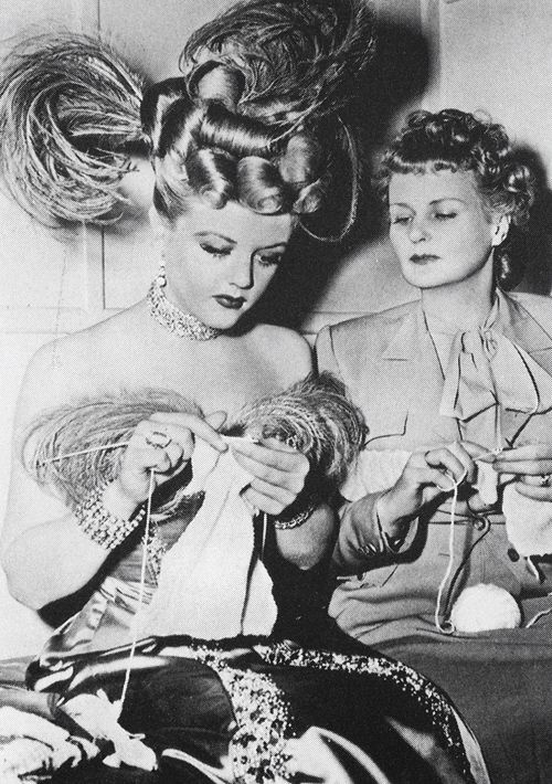Angela Lansbury on the set of The Harvey Girls with her Mother Moyna: