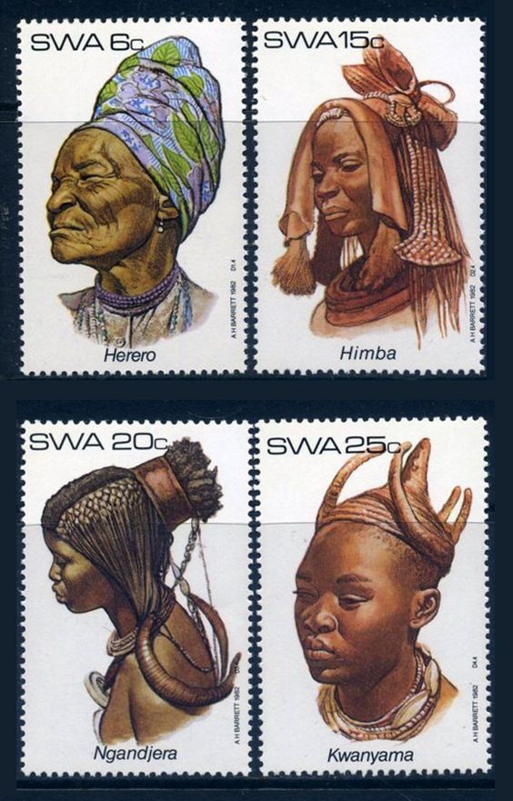Africa | Traditional headdress; Herero, Himba, Ngandjera and Kwanyama | Stamps from South West Africa (now Namibia)