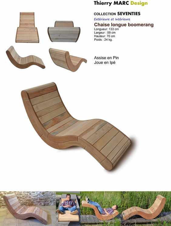Chaise Bois Vintage - chaise longue design vintage thierry marc en bois Bob legni di mare Pinterest Chaise