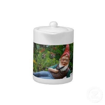 Relaxing Gnome with Santa Cap teapot #christmas