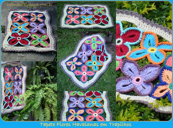 Colorful rug using flower motifs