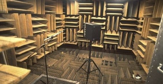 Quietest place on earth. blocks out 99.99% of sound. Apparently if you spend enough time in here you hallucinate. Longest time a human has spent in here alone.... 45 mins.