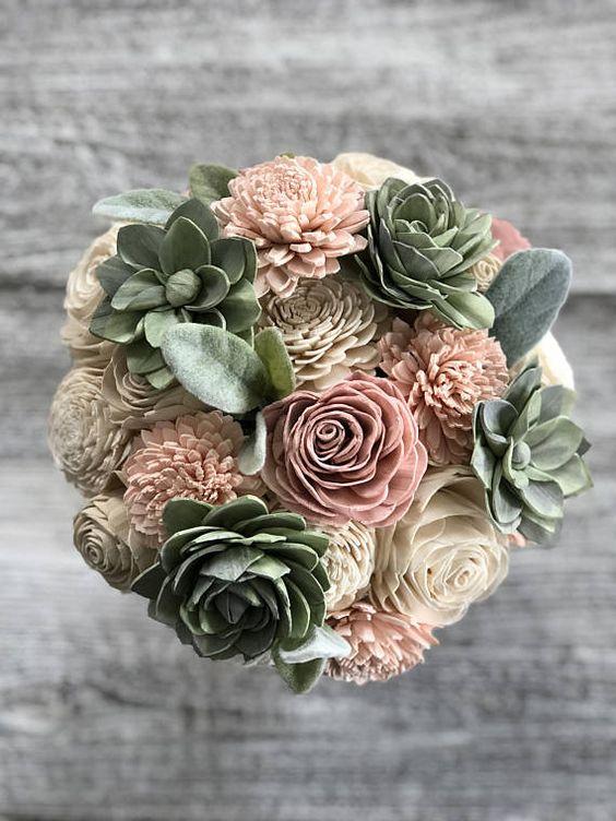 Soft Succulent Bouquet Wooden Flowers Blush Succulent