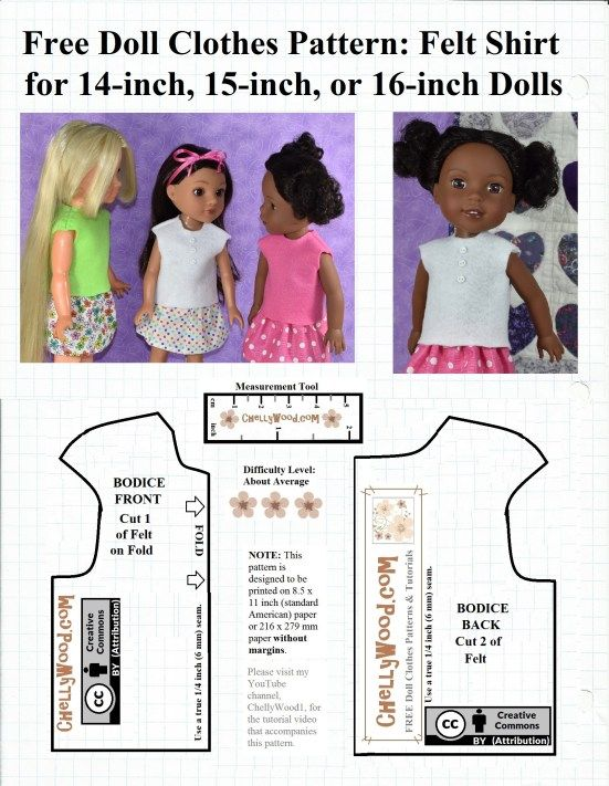 Free Sewing Pattern For A Felt Shirt To Fit 14 Inch 15 Inch And 16 Inch Dolls In 2020 Doll Clothes Patterns Free Doll Clothes Patterns Baby Doll Clothes Patterns