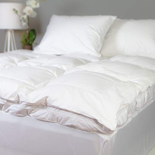 Allied Essentials Luxe 100 Cotton White Down Feather Mattress Bed Topper White Queen Feather Mattress Best Cooling Mattress Thick Mattress Topper
