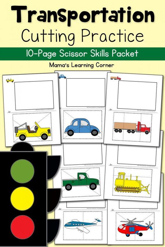 Cutting Practice Worksheets: Transportation | Love the, Preschool ...