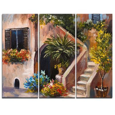 DesignArt Summer Terrace - 3 Piece Painting Print on Wrapped Canvas Set