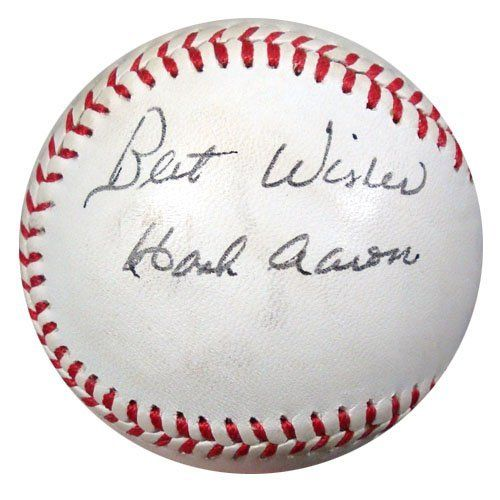 Hank Aaron Autographed Baseball Best Wishes Vintage Auto Psa Dna Q88120 299 00 This Is A Baseball That Has Been Hand S Hank Aaron Autograph Atlanta Braves