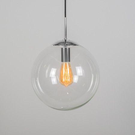 Lámpara colgante BALL 30 transparente cromo - Fantástica lámpara con diseño intemporal que dará un ambiente elegante y atractivo a su hogar, oficina o lugar de trabajo. Este modelo está en diferentes tamaños y colores, para poder hacer combinaciones y crear composiciones dinámicas. Para darle un acabado más atractivo puede colocar bombillas decorativas, como la que se muestra en la imagen.