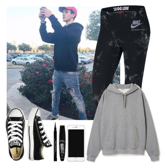 """Taking a selfie with Aaron (best friend)"" by highoffofmagcon ❤ liked on Polyvore featuring NIKE, Converse, Rimmel and Givenchy"