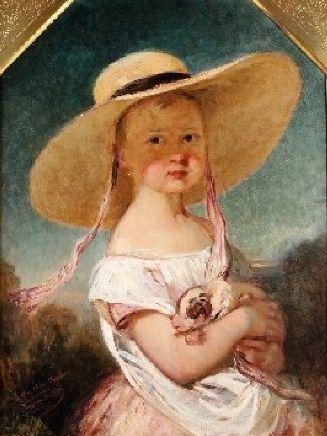 Madame Bucheron-Gallait enfant au chapeau de paille LOUİS GALLAİT