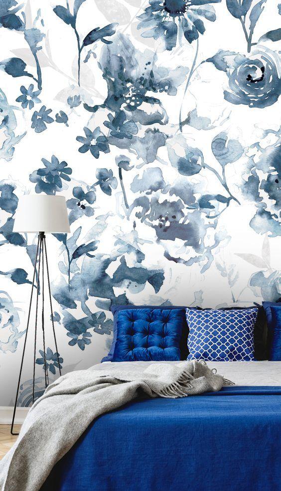 Indigo Garden Blue Floral Wallpaper In 2020 Blue And White Wallpaper Blue Floral Wallpaper Wall Wallpaper