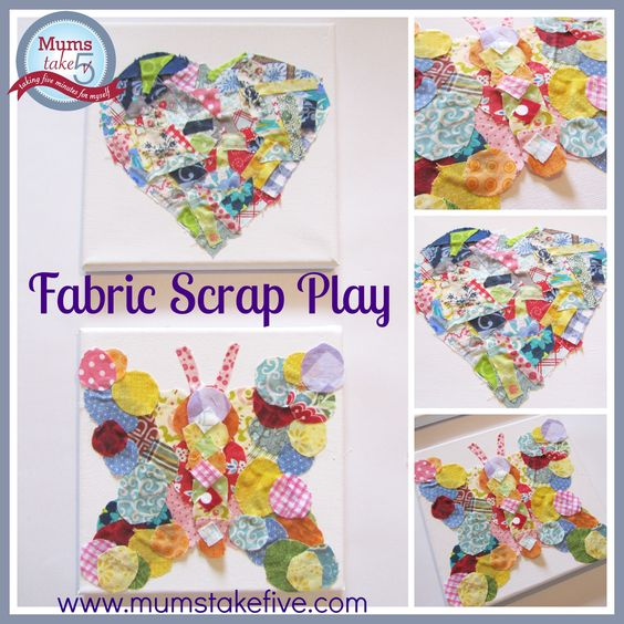 Fabulous Scrap Fabric Collages scrap fabric craft.  sensory play. suitable for lots of ages.  great gift idea, group work, home decorating www.mumstakefive.com