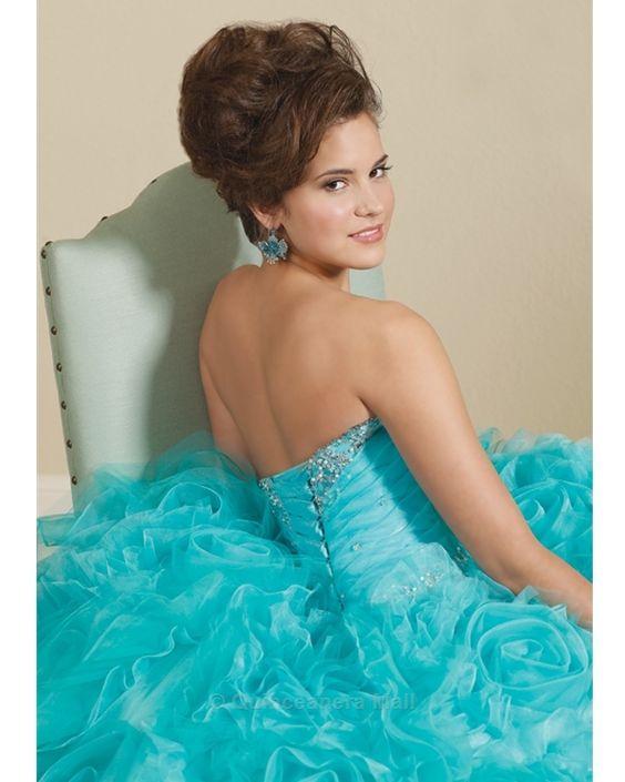 Quinceanera Dress #88029B Organza with beading. Matching bolero jacket. Organza con bordados de piedras. Incluye chaqueta bolero.