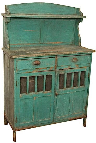 Late 19th C Painted Rustic Argentinian Cupboard Kitchen
