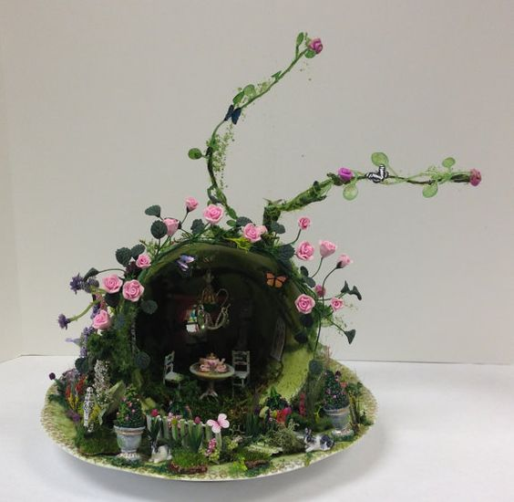 Miniature Secret Garden Teacup Scene by KammysCreations on Etsy: