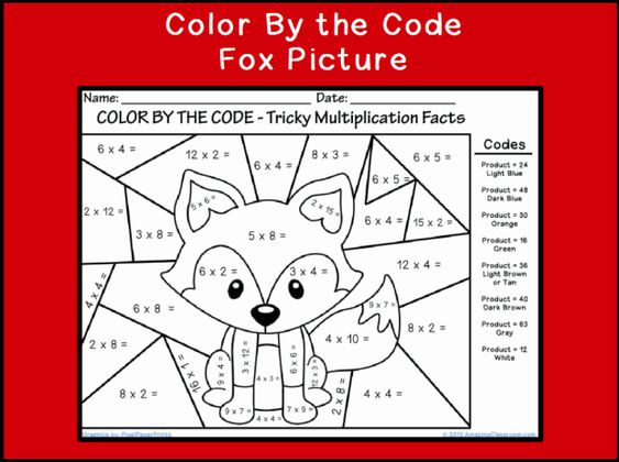 Printables Math Coloring Worksheets 3rd Grade color by the code multiplying fox classroom printable multiplication coloring sheets3rd grade