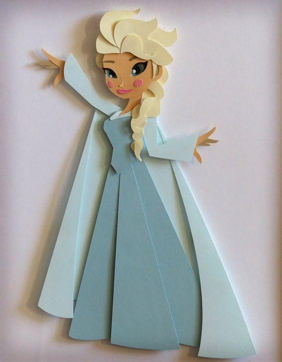 Original Elsa Papercut Illustration Framed by ...