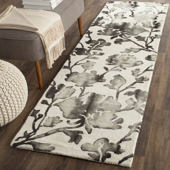 Dip Dye Ivory & Charcoal Floral Area Rug by Safavieh