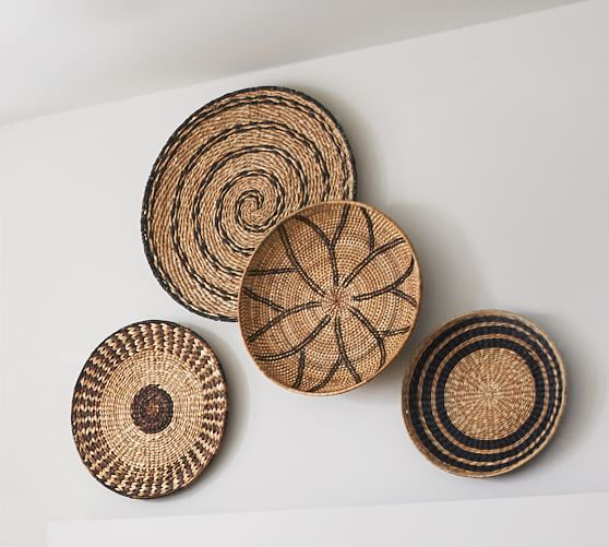 Woven Baskets Wall Art Natural Set Of 4 Pottery Barn Basket Wall Art Baskets On Wall Basket Decoration