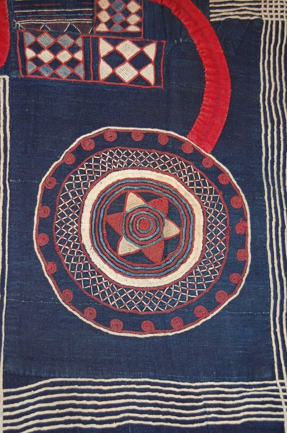 Africa | Textile | Pattern | Mandingo, Sierra Leone. Kusaibi robe made from slim strips of cotton woven on a narrow loom and dyed indigo. Acquired by the British Museum in 1925.