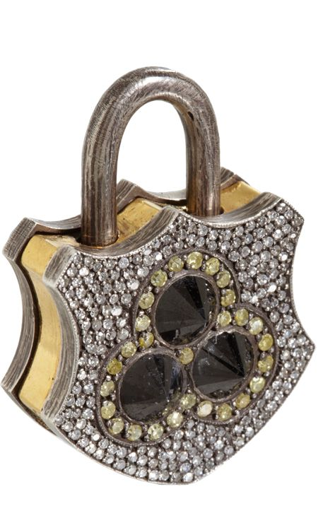 Sevan Bicakci Black, Yellow & White Diamond Large Padlock