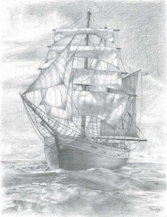 Sailing Ship Pencil Drawing - Fine Art Print - 8.5x11 ...
