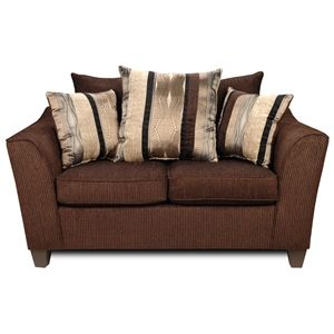 Lizzy Flared Arm Loveseat - Pillow Back, Romance Brown Fabric