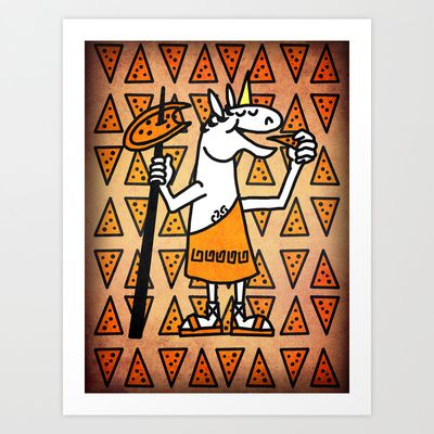 Little Horn Unicorn Pizza Art Print by That's So Unicorny - $14.99
