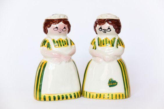 German Ceramic Pepper Salt Shakers Ladies by LoveMyVintageBazaar, €23.00