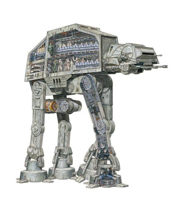 at-at Ilustración detallada de los vehiculos de Star Wars