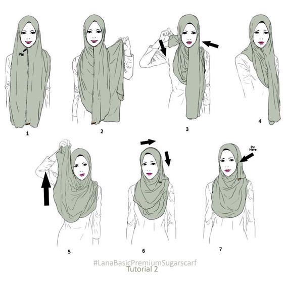 Tutorial hijab menutup dada.