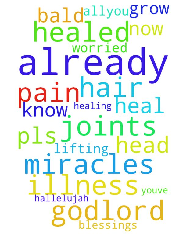healing -   	I'm worried Father God...Lord you've already healed my illness you know it all--you� already did miracles to heal the pain in the joints hallelujah! and now lifting up to you that my hair will grow again, don't let it get bald pls in    	Jesus name I ask blessings to my head! Amen Amen!�  Posted at: https://prayerrequest.com/t/4Ha #pray #prayer #request #prayerrequest